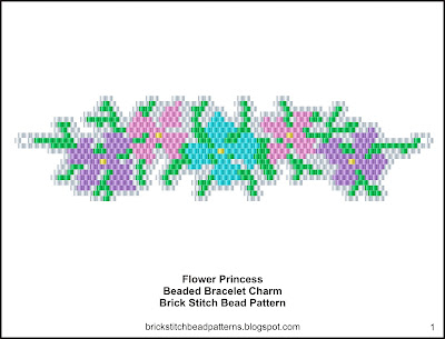 Free brick stitch seed bead bracelet charm pattern color chart.