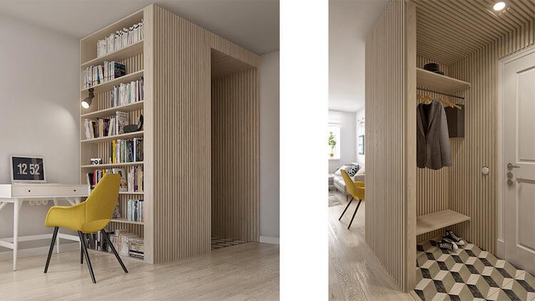 Reforma de un pequeño apartamento, zona de trabajo en el salón y hall