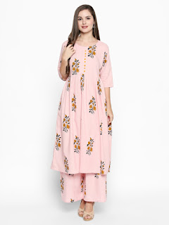 Ishin Women Pink Printed Kurta with Palazzos