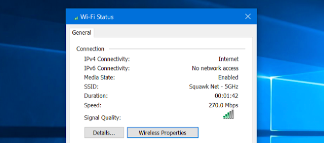 WiFi Status Windows 10