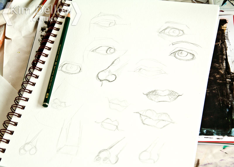 A study of facial features in my art journal