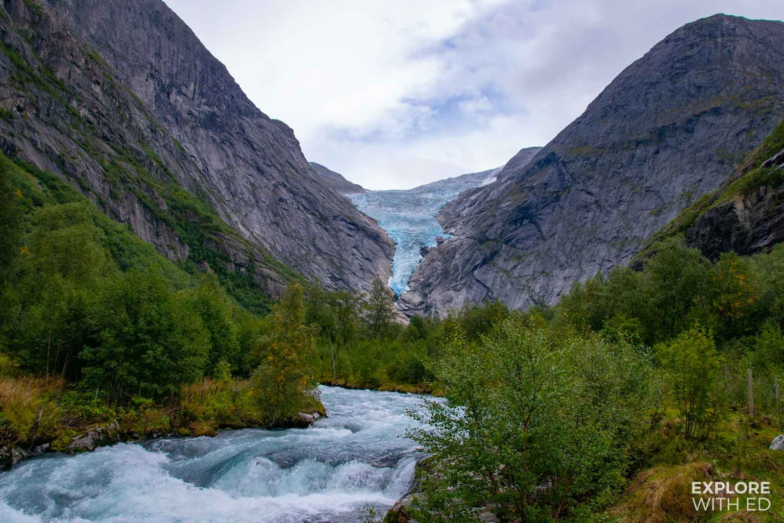 Briksdal Glacier and river