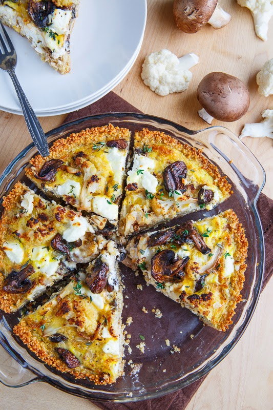 Roasted Cauliflower, Mushroom and Goat Cheese Quiche with Quinoa Crust