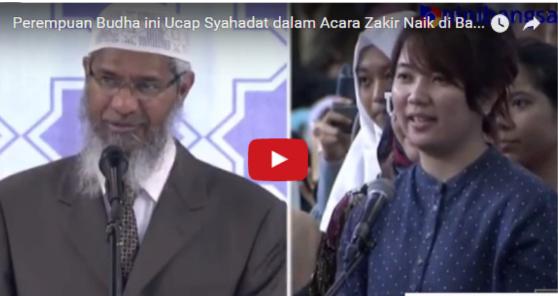 Gema Takbir dan Applause Membahana, Saat Perempuan Budha ini Ucapkan Syahadat di Acara Zakir Naik Bandung