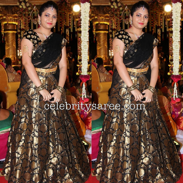 Black Benaras Half Saree