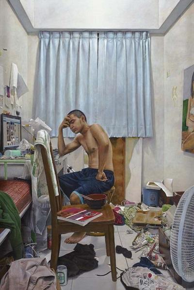 by Chunchieh Huang, obras de arte realista, escenas cotidianas de jovenes migrantes,
