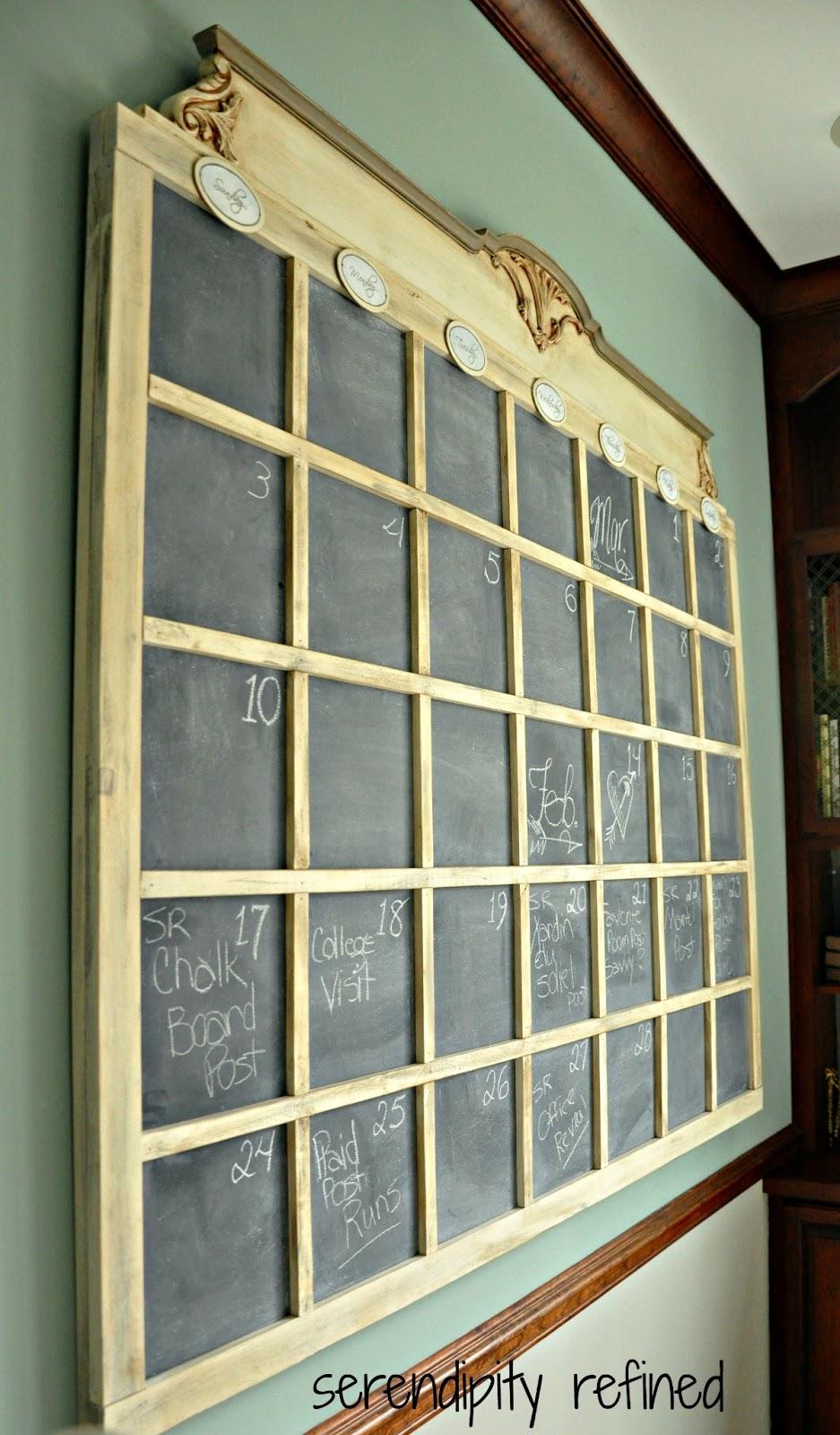Serendipity Refined Blog: DIY Chalkboard Wall Calender
