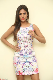 Nishi Ganda stunning cute in Flower Print short dress at Tick Tack Movie Press Meet March 2017 169.JPG