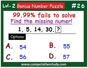 Number Puzzle: Find the missing number: 1, 5, 14, 30, ?
