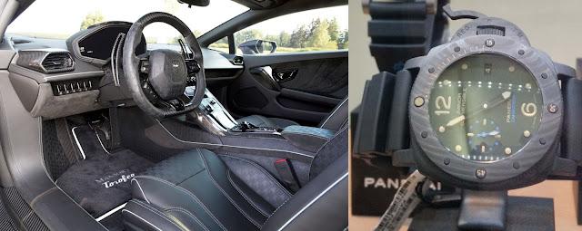 Vergleich des Mansory Torofeo Cockpits mit einer Panerai Carbotech Uhr