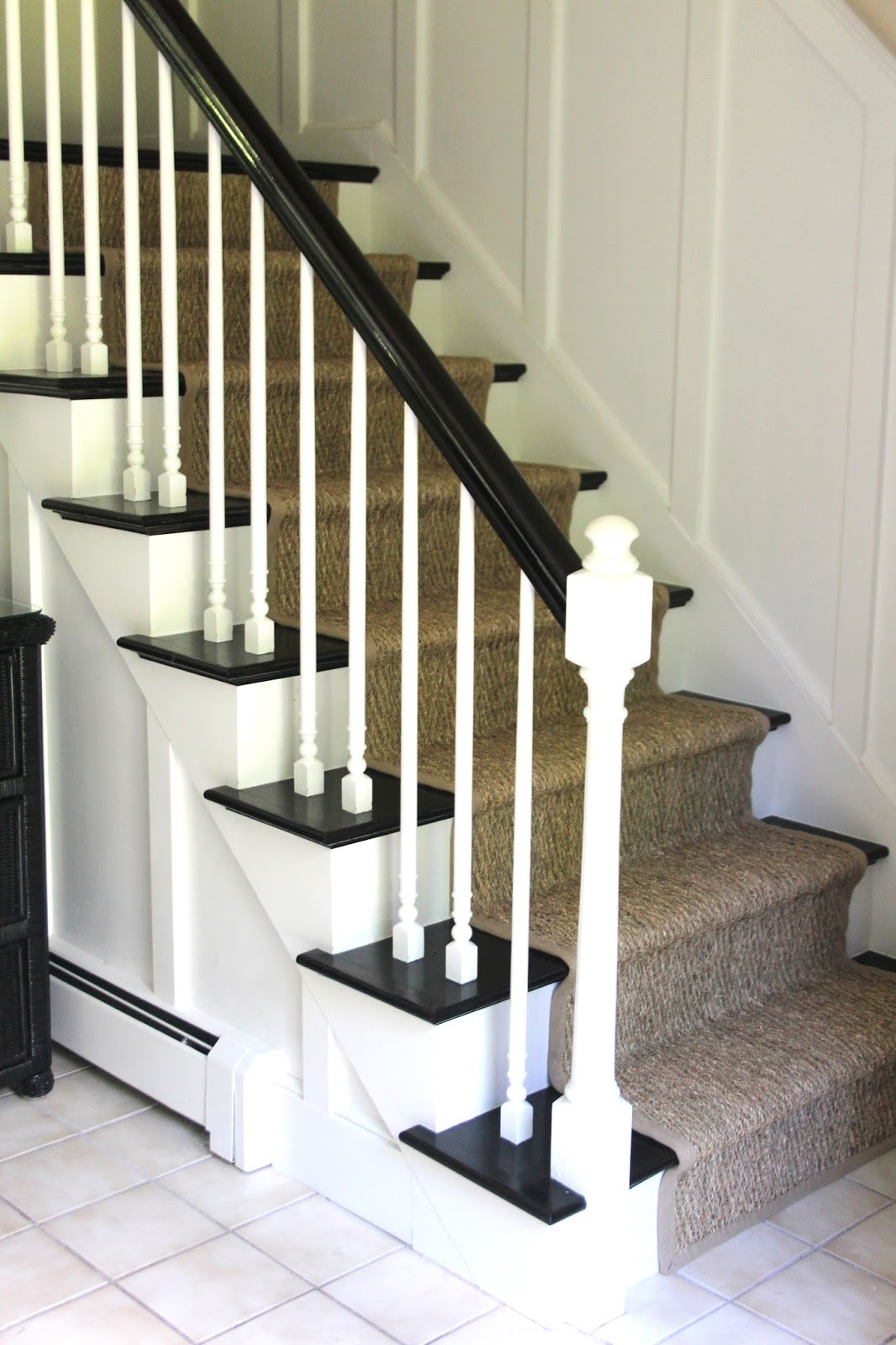 Lighting Basement Washroom Stairs: Seagrass Stair Runner