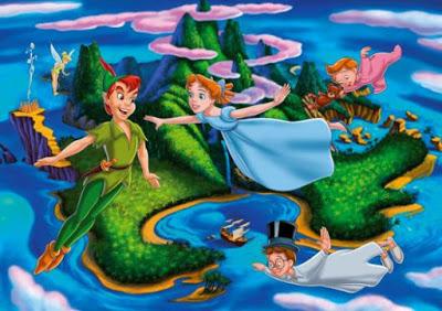 Dibujo de Peter Pan volando con Wendy y sus amigos en el país del Nunca Jamás
