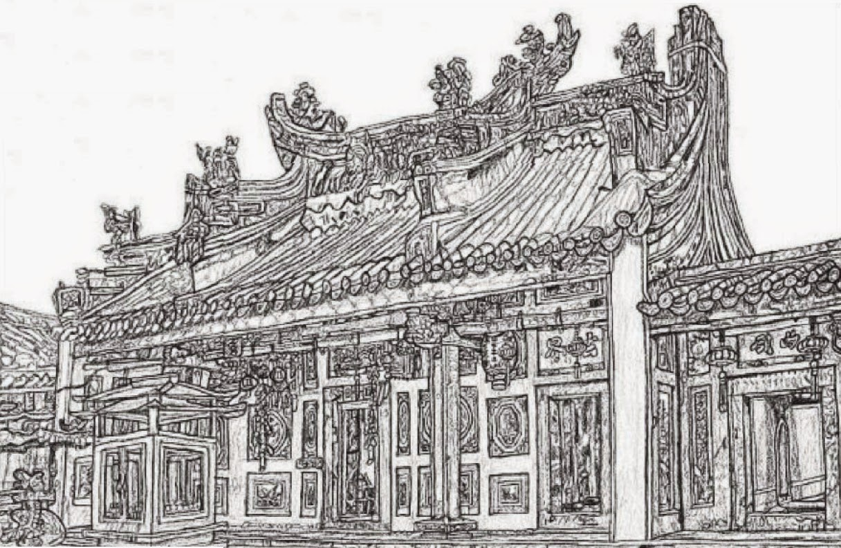 The Johor Baru old chinese temple drawn by Hanzhen. He has published a book titled Johor Bahru, My City, My Heritage.