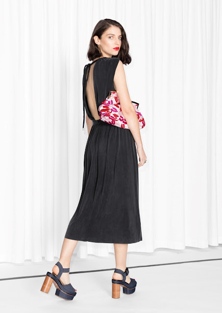 stories open back black dress, open back black midi dress, black cupro dress,