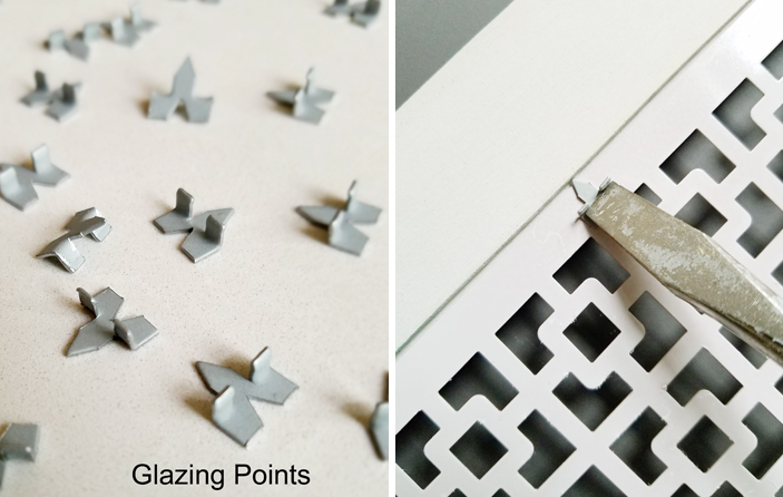 How to hold picture or glass into the picture frame with Glazing points