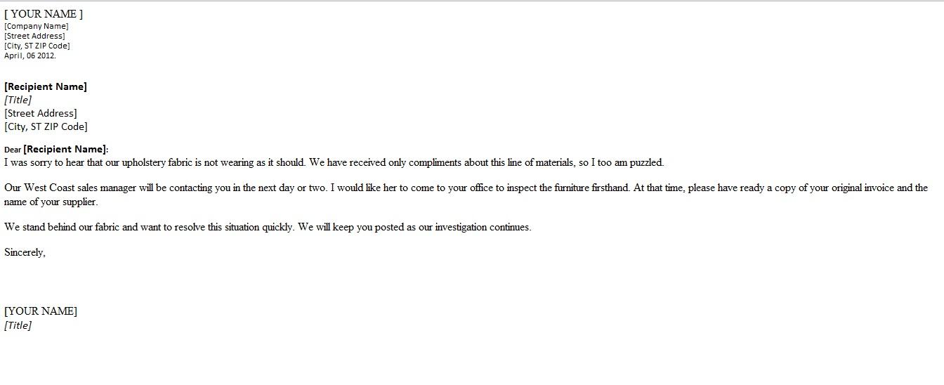 complaint letter template word - complaint letter template word