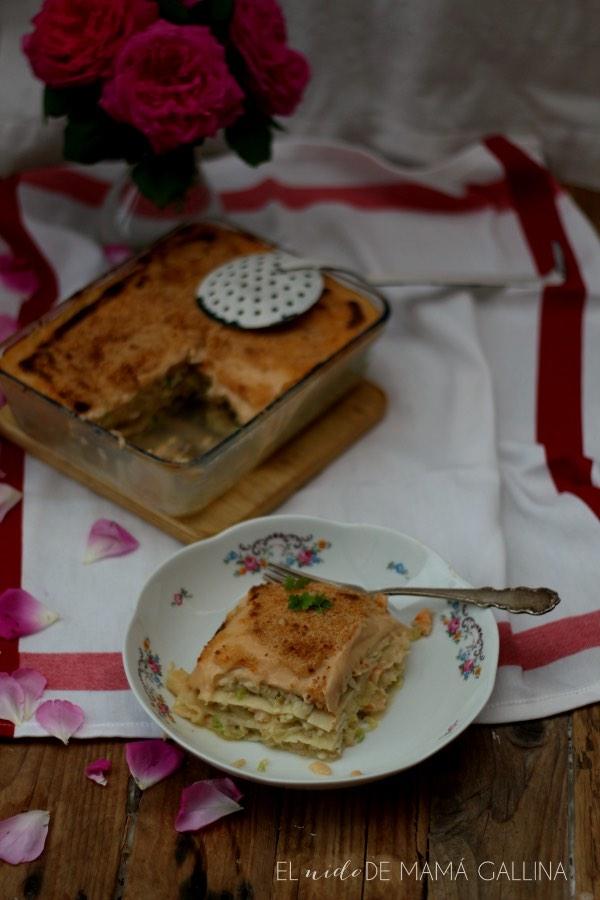 lasana de verduras con merluza y langostinos, ración