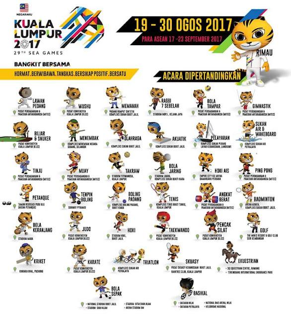 Jadual Pertandingan Acara Sukan SEA 2017
