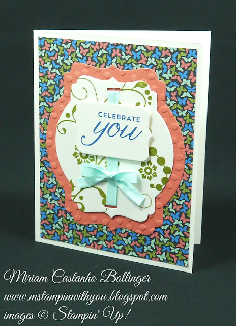 Miriam Castanho Bollinger, #mstampinwithyou, stampin up, demonstrator, dsc, birthday card, pretty petals dsp, flowering flourishes, birthday blossoms stamp set, big shot, deco labels collections, chalk talk framelit, decorative dots tief, curvy corner trio punch, su