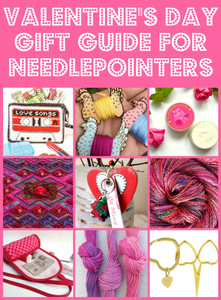 Collage of valentine's day themed handmade products that make ideal gifts for needlepointers