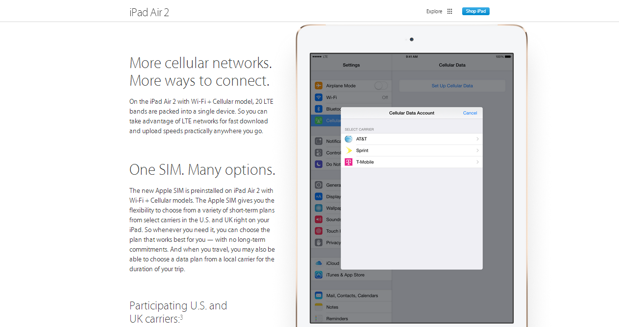 iPad Air 2 & iPad Mini 3, cellular has Apple proprietary SIM which dances in US & UK,between carriers