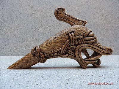 Hedeby carved oak Viking dragon head
