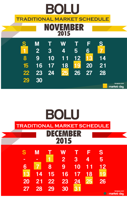 bolu traditional market schedule 2015