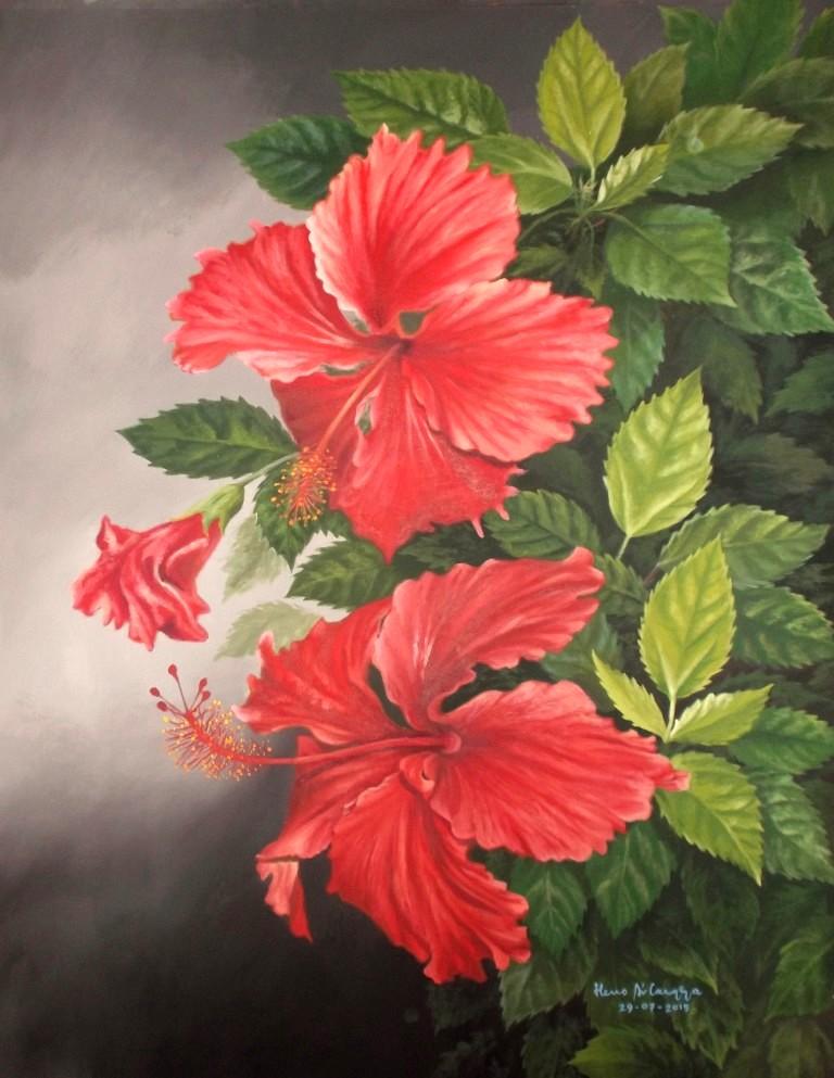 Dunia Lukisan JAVADESINDO Art Gallery     LUKISAN BUNGA SEPATU ... e1c9501314