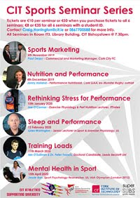 Sports Seminar Series in Cork City - Nov 2019 to Apr 2020
