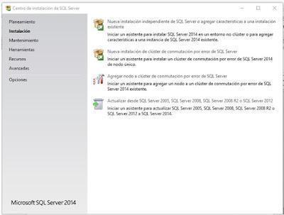 Pantalla inicial del proceso de instalación SQL Server 2014.