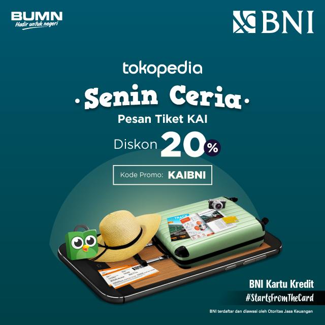 Bank BNI - Diskon 20% untuk pembelian tiket KAI di Tokopedia (TIAP SENIN)