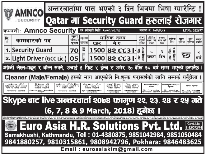 Jobs in Qatar for Nepali, Salary Rs 42,883