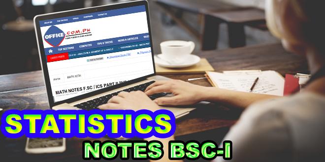 Statistics Notes B.Sc Part I