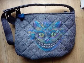 torba ręcznie malowana kolorowy kot Kot z Cheshire, Kot-Dziwak z Cheshire