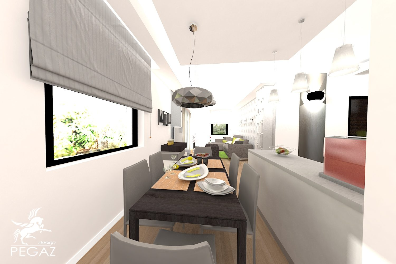 Pegaz design justyna uczak salon kuchnia jadalnia for Salon open space