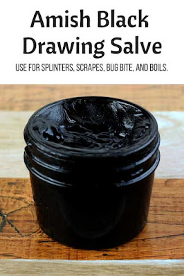 How to make an Amish black drawing salve recipe. Use this recipe for boils, for splinters, for boils, acne, cyst, and minor skin conditions. Make a natural recipe DIY black salve with charcoal and bentonite clay to draw toxins from the skin. This home made drawing salve has many uses.  It's a must for the home first aid kit!  Homemade drawing salve recipe. #drawingsalve #recipe #diy