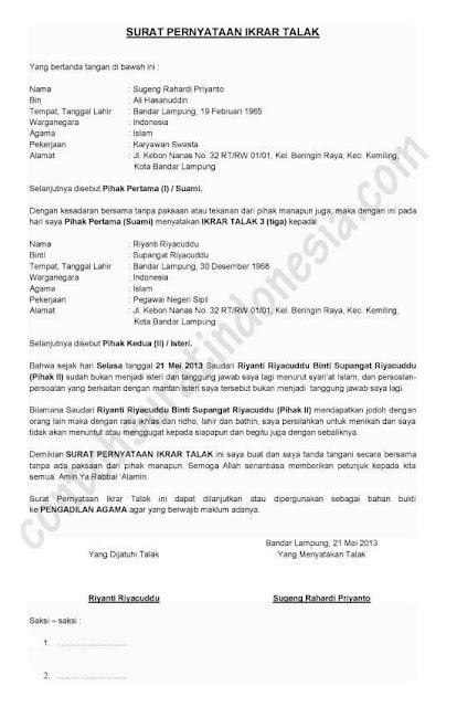 Contoh Surat Pernyataan Cerai Sepihak