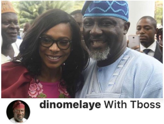 Dino Melaye Forced To Delete His Photo With Tboss After Trolls Tagged Him One Of Her 'private Jet Owners'