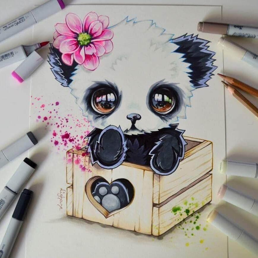 09-Baby-Panda-in-a-box-Lisa-Saukel-lighane-Cute-Colored-Fantasy-Animal-Drawings-www-designstack-co
