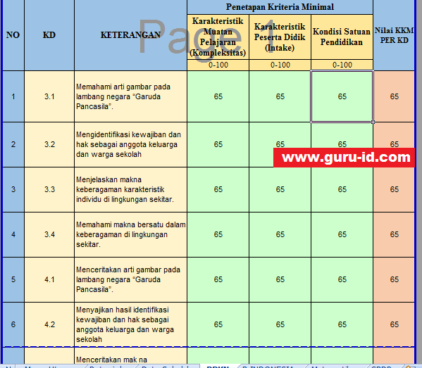 Aplikasi Hitung Kbm Kkm Kurikulum 2013 Otomatis Untuk Sd Info Pendidikan Terbaru