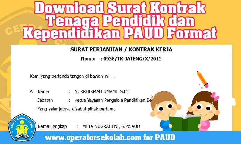 Download Surat Kontrak Tenaga Pendidik dan Kependidikan PAUD Format Doc.jpg