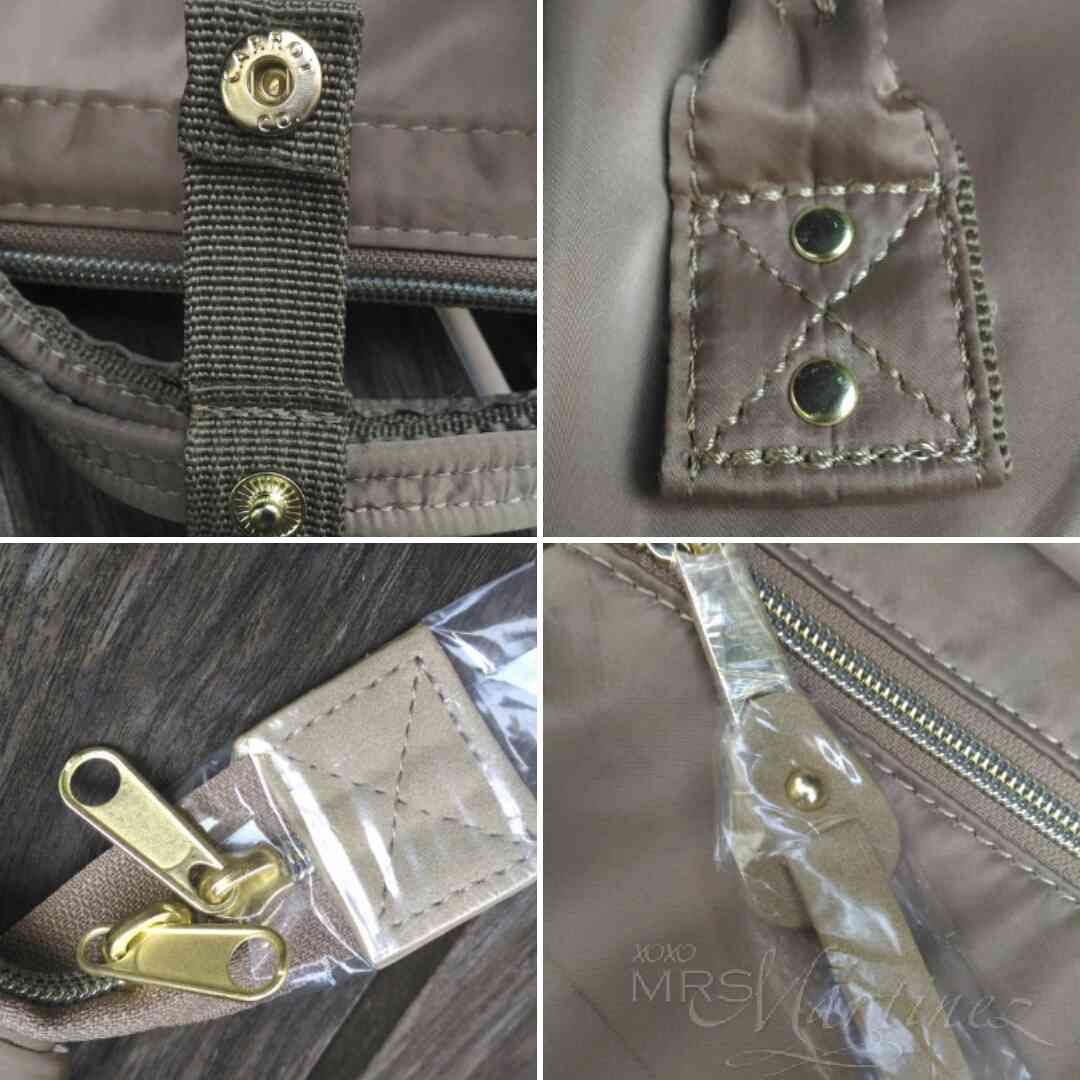(clockwise from left)  Snap on button, flat rivets on handles, round (one  side) flat (other side) rivet on faux leather zipper pull front pocket and  gold ... 304cb15530