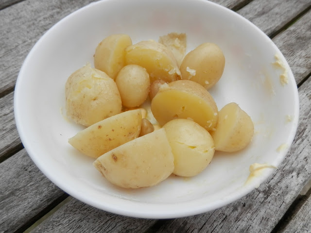 My suburban garden harvest, June 2016. Potatoes, strawberries, raspberries, onions and garlic. secondhandsusie.blogspot.com