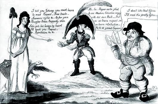 Historieta de 1812 que muestra a Columbia (los Estados Unidos)