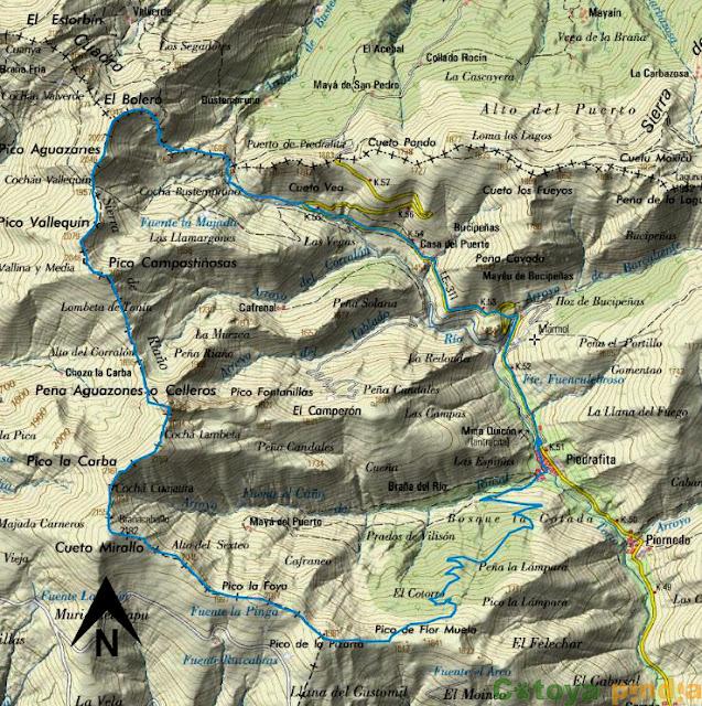Map IGN Mapa con la ruta señalizada del Brañacaballo al Pico Bolero desde Piedrafita la Mediana.