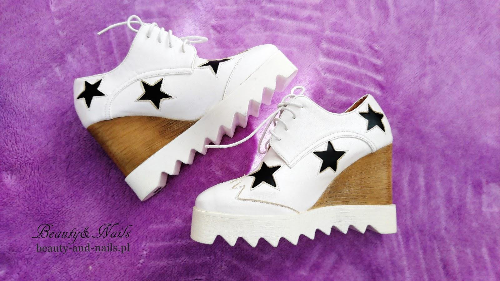 87b7b6a2a0aa07 Beauty and Nails: ZAFUL - białe buty z gwiazdkami na platformie