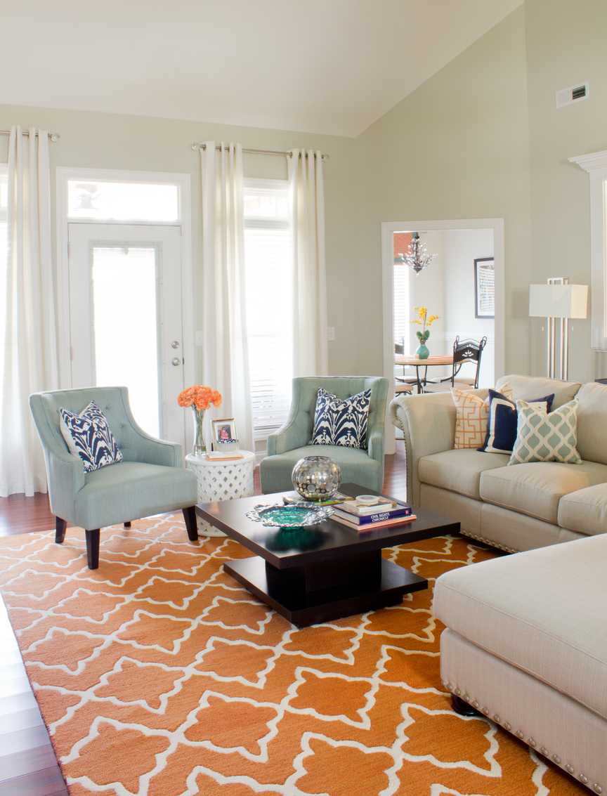 Blue And Orange Living Room Ideas: Orange And Mineral Blue Living Room Design