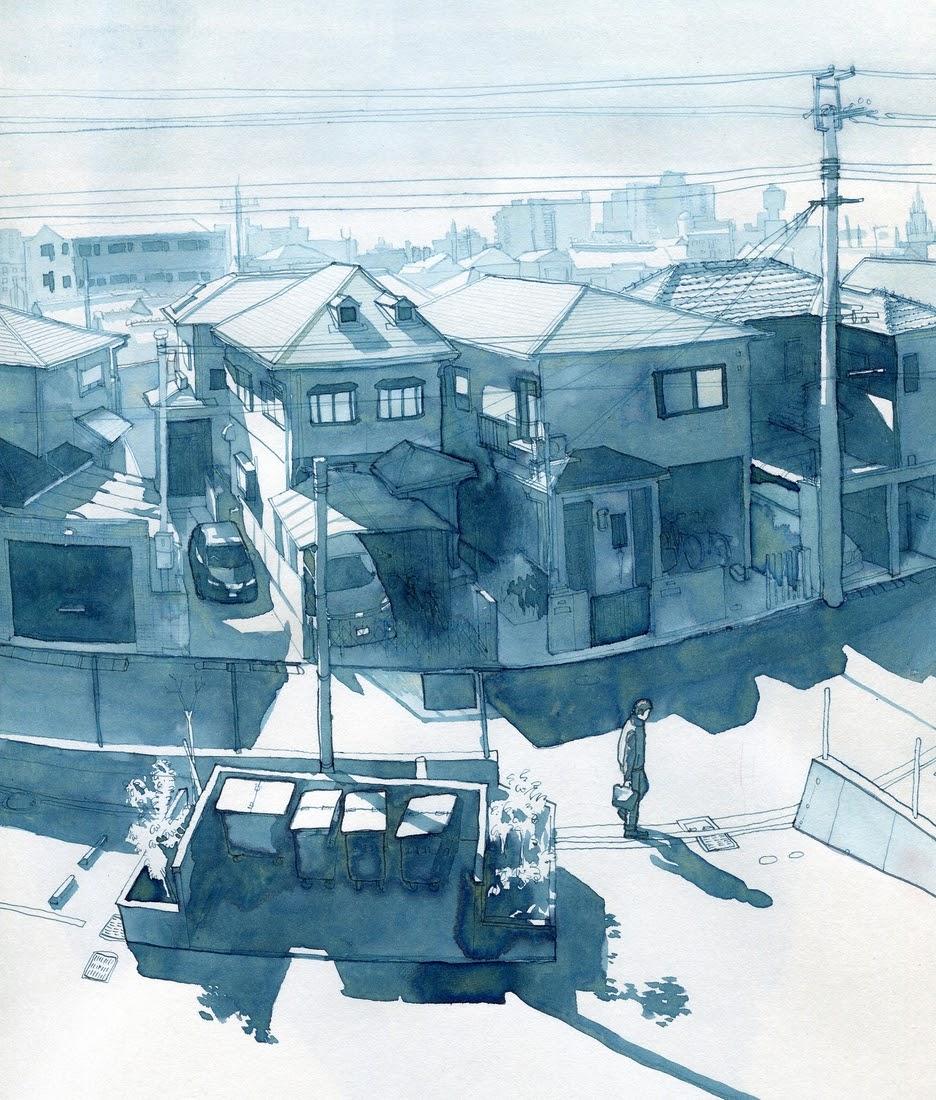 09-Osaka-Sakai-Hiroko-Rupert-Taylor-Blue-Architectural-Urban-Drawings-www-designstack-co