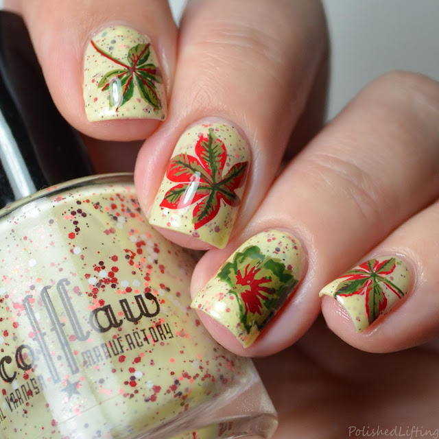 layered leaf nail art
