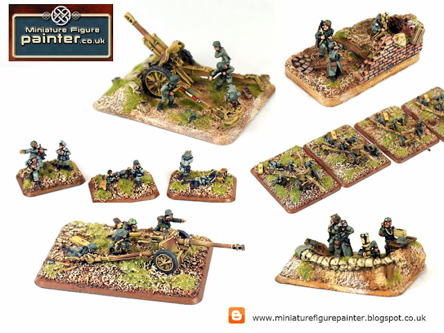 5mm Flames of war German Pak 75mm and 105mm Artillery with command and observation post